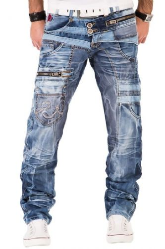 Kosmo Lupo Mens Designer Stonewash Jeans With Denim Contrast Detail Slim Tapered Fit